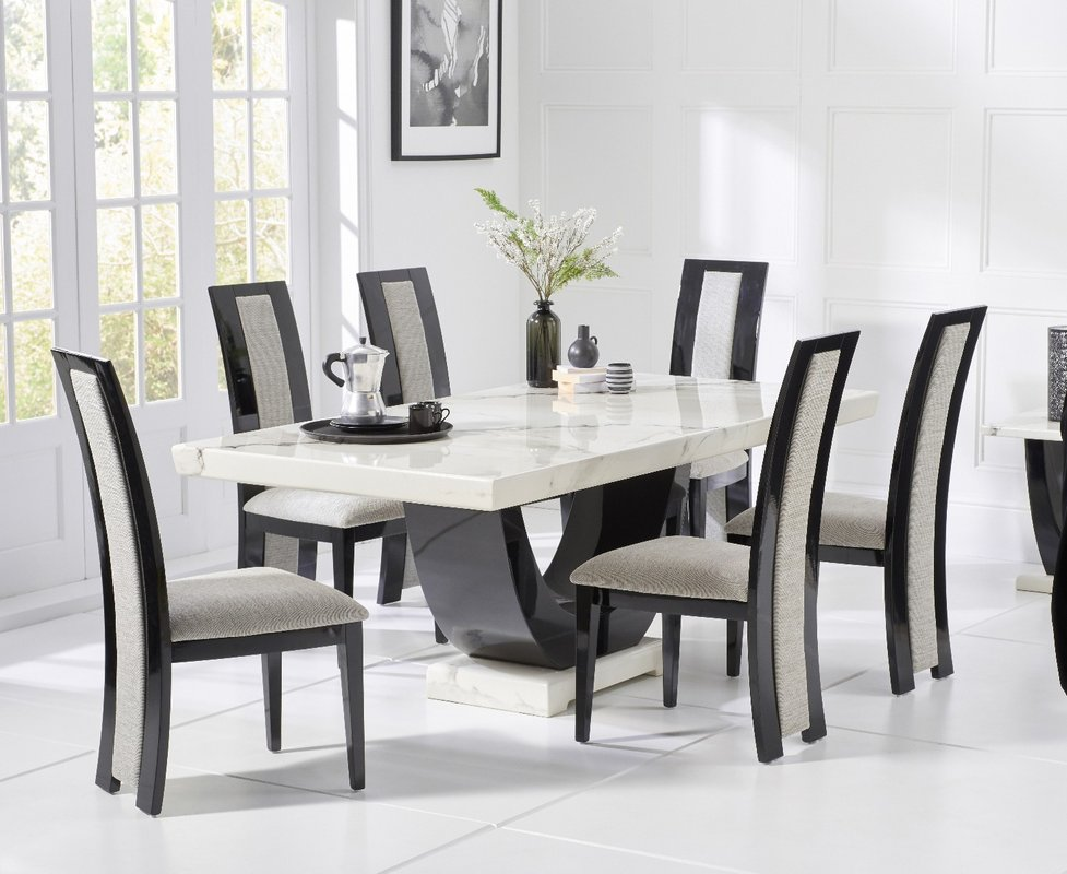 Photo of Raphael 170cm White And Black Pedestal Marble Dining Table With Raphael Chairs