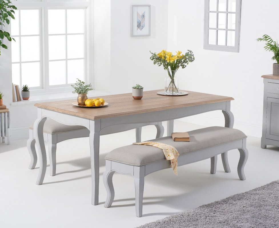 Parisian 175cm Grey Shabby Chic Table With Benches With Grey Fabric Seats 969 00 Save Up To 39 Off