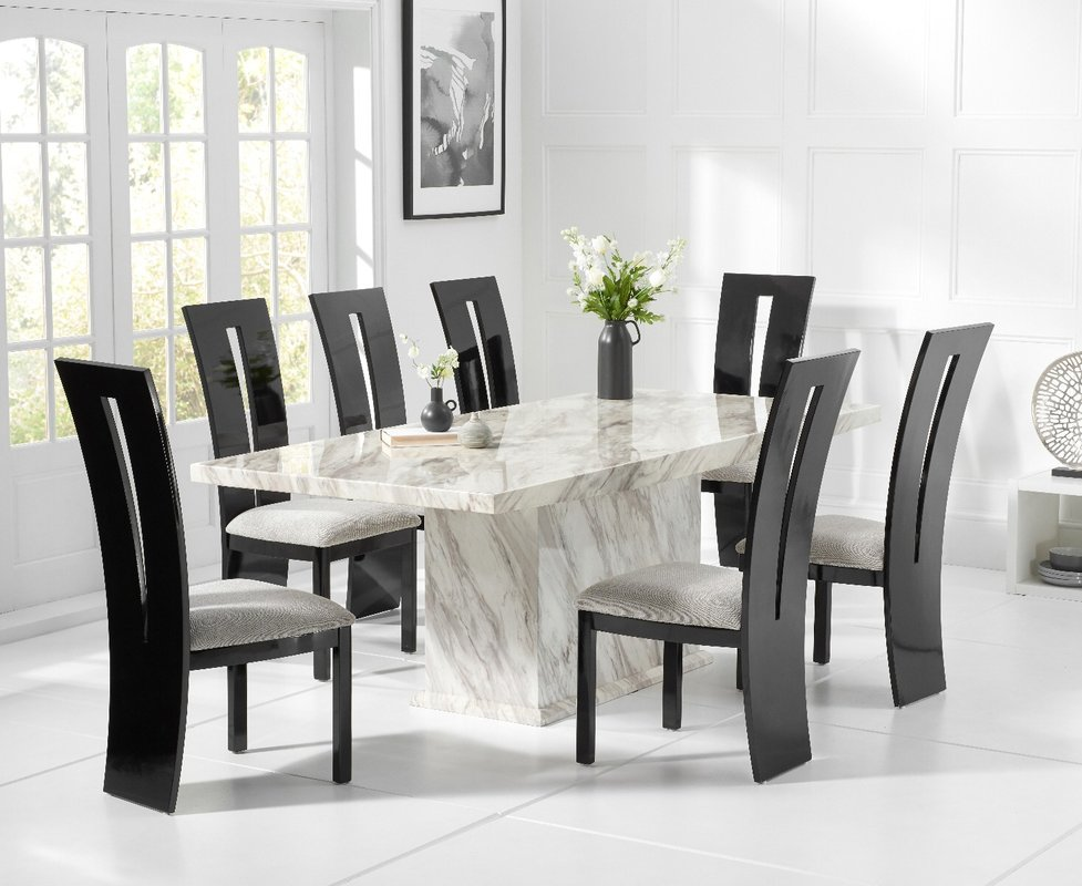 Photo of Calacatta 220cm Marble-effect Dining Table With Verbier Chairs