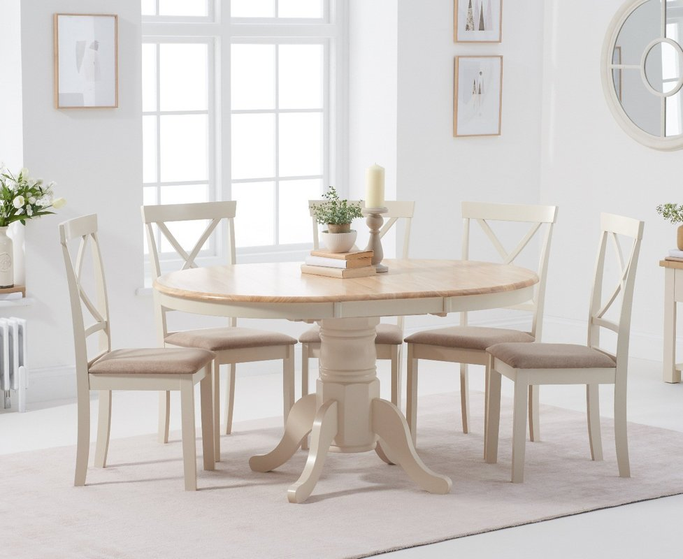 Photo of Epsom Cream Pedestal Extending Table With Epsom Chairs With Cream Fabric Seats - Cream- 4 Chairs