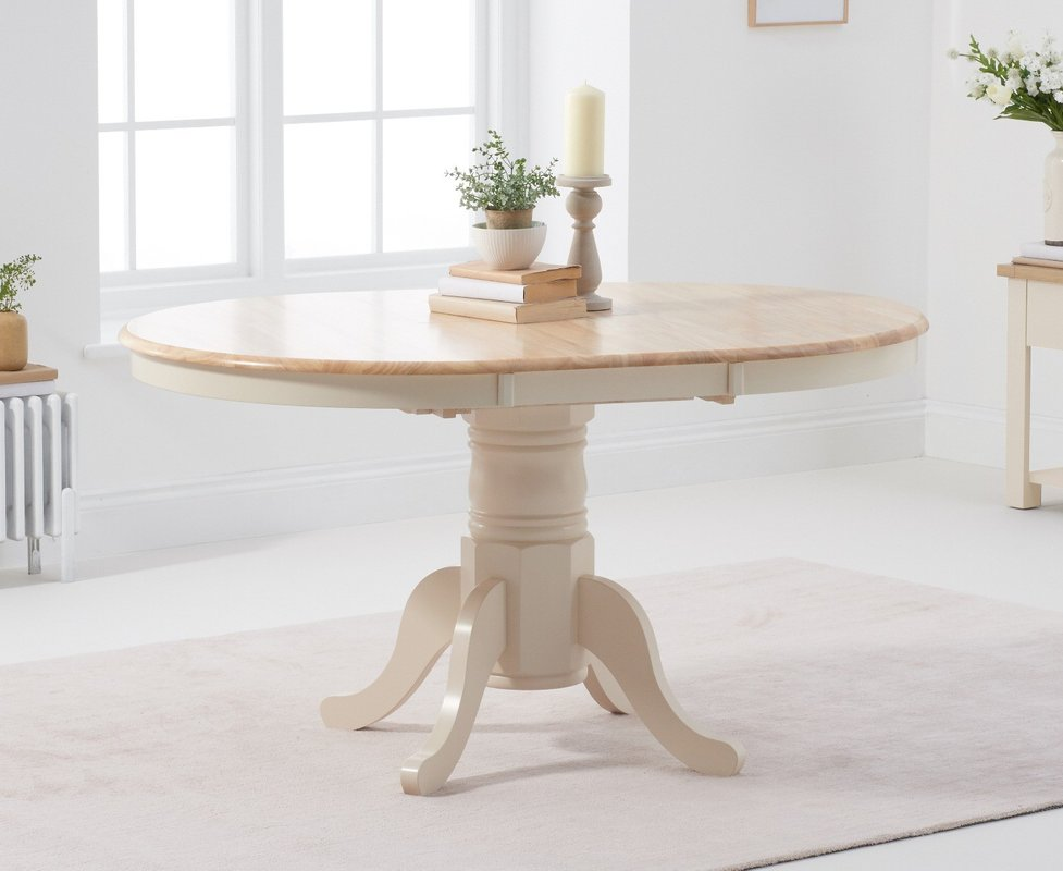 Epsom Cream Extending Pedestal Dining Table 549 00 Save Up To 8 Off