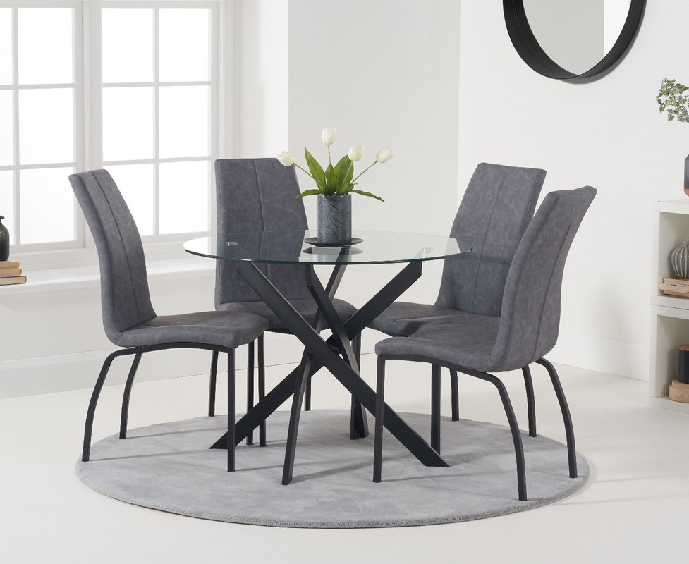 Mara 100cm Round Glass Dining Table With Antique Noir Chairs Grey 4 Chairs 719 00 Save Up To 9 Off