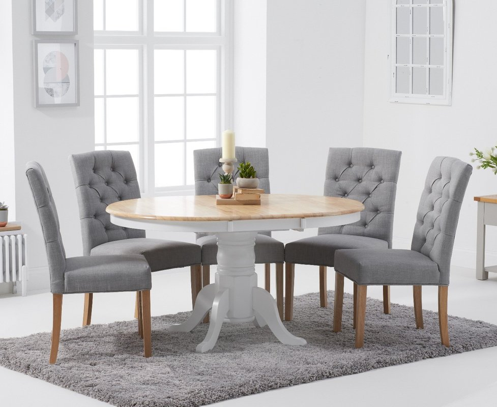 Photo of Epsom Oak And White Pedestal Extending Table With Claudia Fabric Chairs - Grey- 4 Chairs