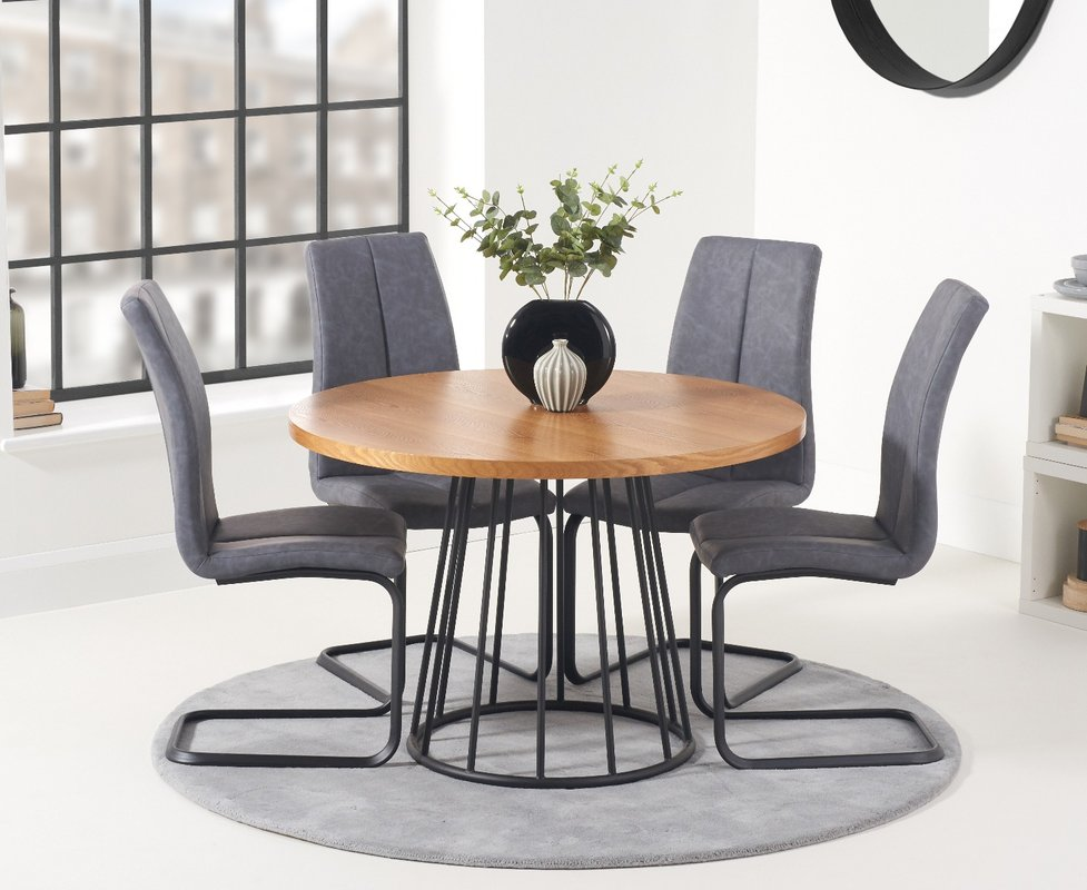 Photo of Hoxton 110cm Round Dining Table And Liza Antique Hoop Leg Chairs - Grey- 2 Chairs