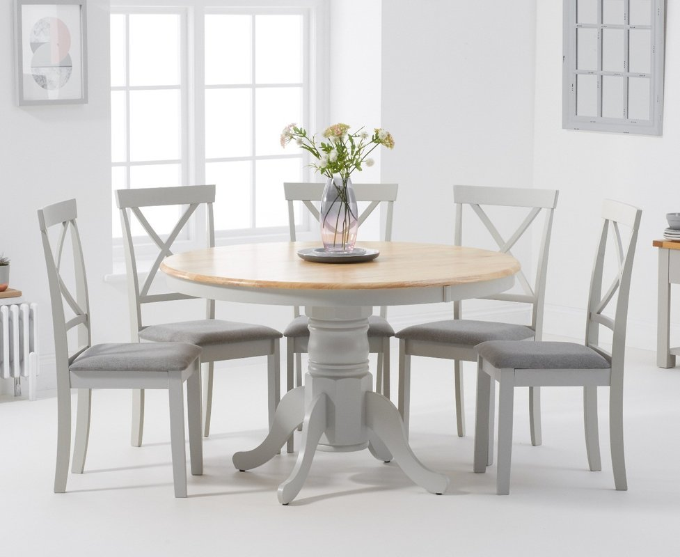 Photo of Epsom 120cm Oak And Grey Round Pedestal Table With Chairs With Grey Fabric Seats - Grey- 4 Chairs