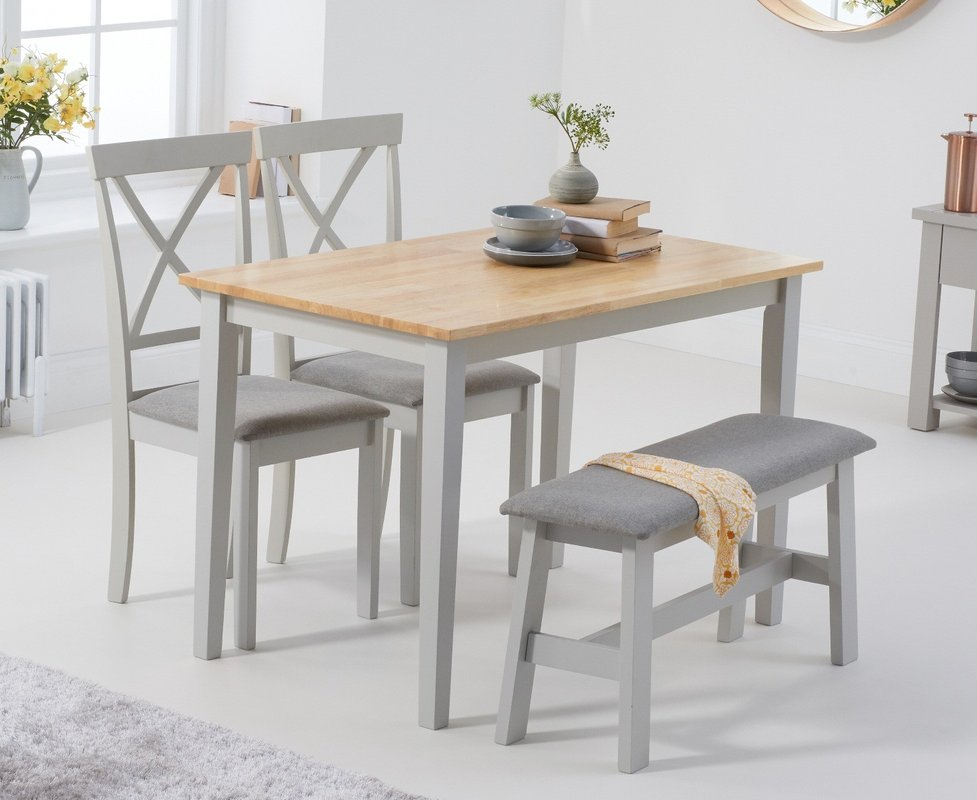 Photo of Chiltern 114cm Oak And Grey Table With Epsom Chairs With Grey Fabric Seats And Bench - Grey- 2 Chairs