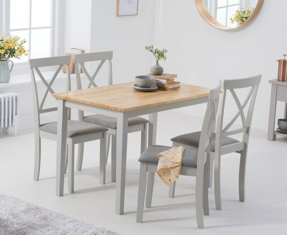 Photo of Chiltern 114cm Oak And Grey Table With Epsom Chairs With Grey Fabric Seats - Grey- 4 Chairs