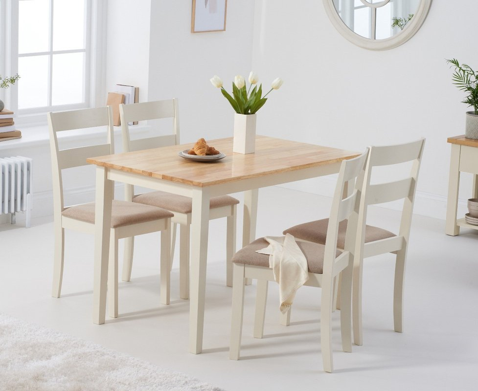 Photo of Chiltern 114cm Oak And Cream Table With Chiltern Chairs With Cream Fabric Seats - Oak And Cream- 4 Chairs