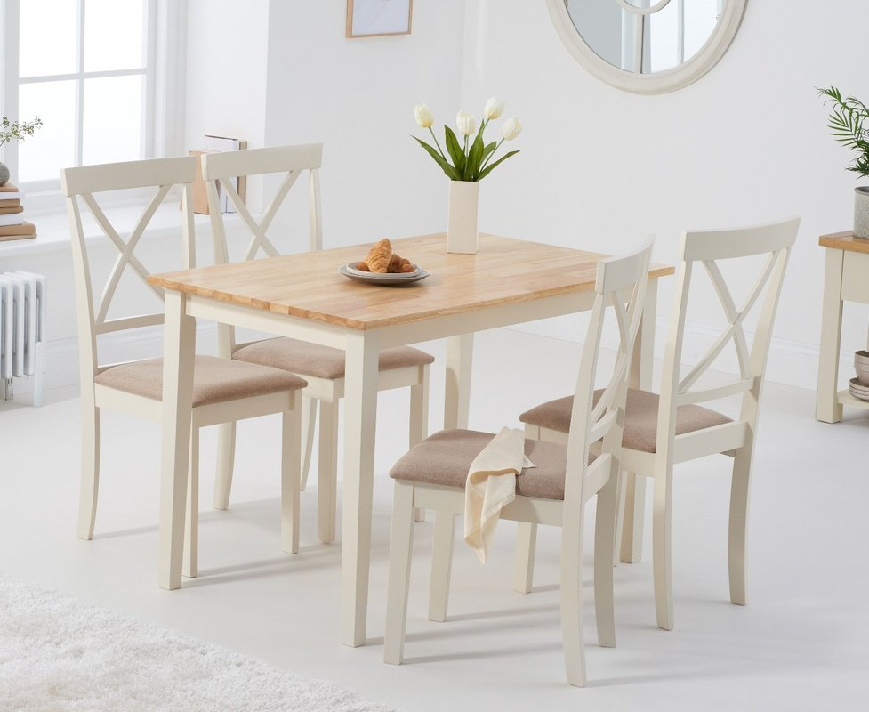 Photo of Chiltern 114cm Oak And Cream Table With Epsom Chairs With Cream Fabric Seats - Cream- 4 Chairs