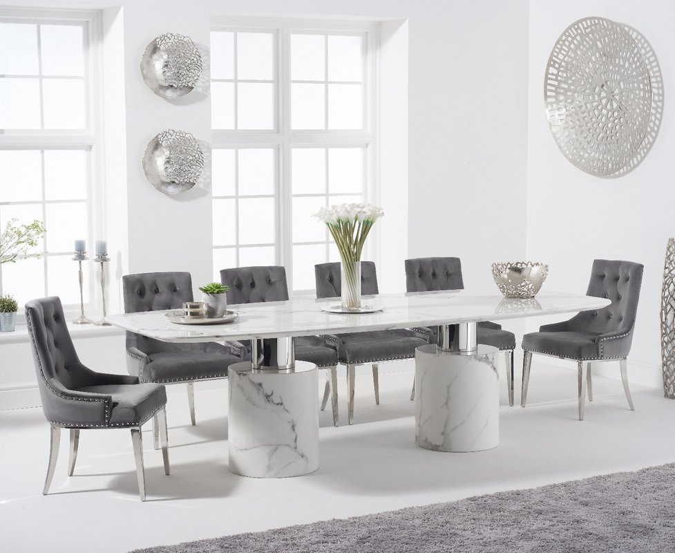Photo of Antonio 260cm White Marble Table With Talia Velvet Chairs - Grey- 6 Chairs