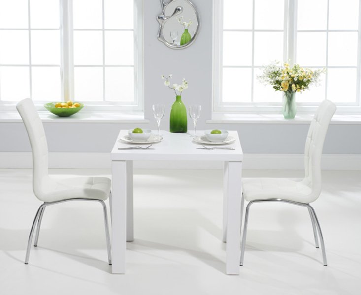 Atlanta 80cm White High Gloss Dining Table With 2 Calgary Chairs 359 00 Save Up To 28 Off