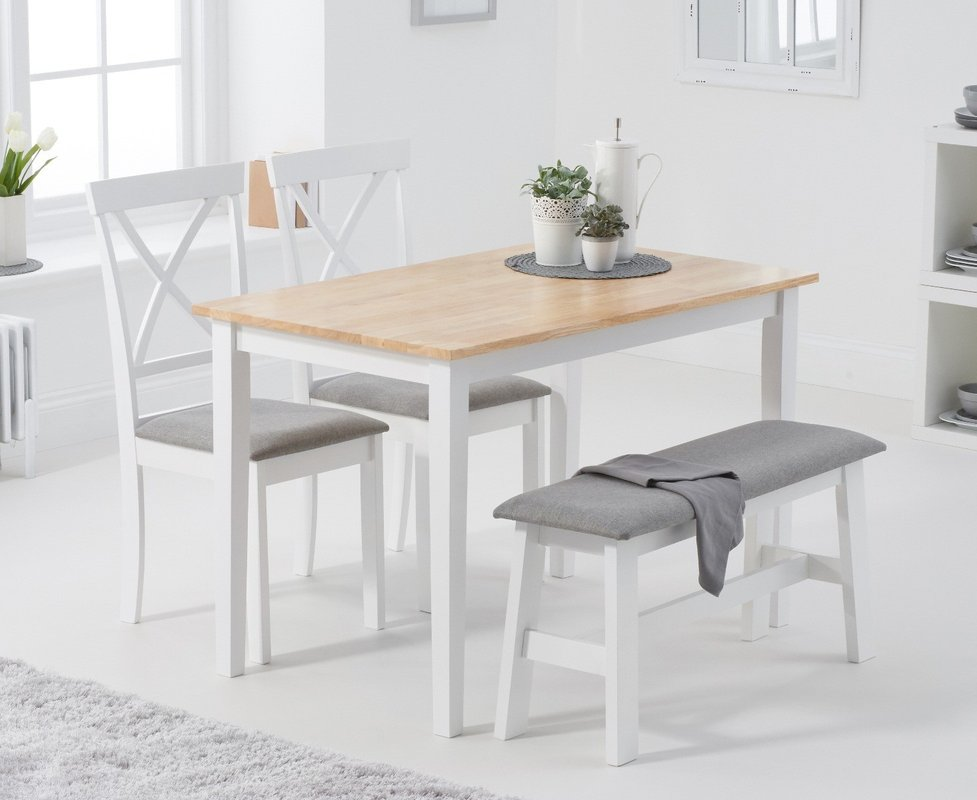 Photo of Chiltern 114cm Oak And White Table With Epsom Chairs With Grey Fabric Seats And Bench - Oak And White- 2 Chairs