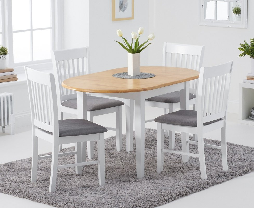 Photo of Amalfi Oak And White Extending Table With Chairs With Fabric Seats - White- 4 Chairs