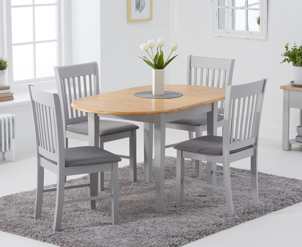 Photo of Amalfi Oak And Grey Extending Table With Chairs With Fabric Seats - Oak And Grey- 4 Chairs