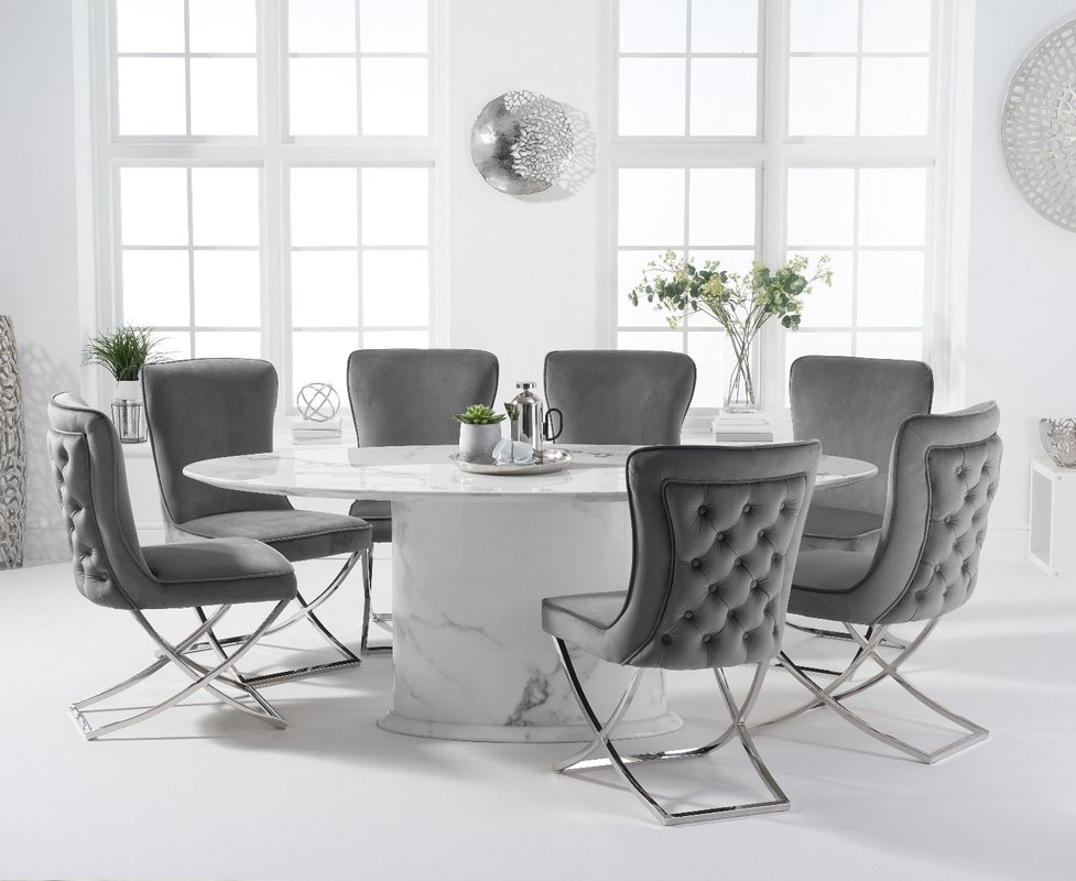 Photo of Colby 200cm Oval White Marble Dining Table With Giovanni Velvet Chairs - Grey- 6 Chairs