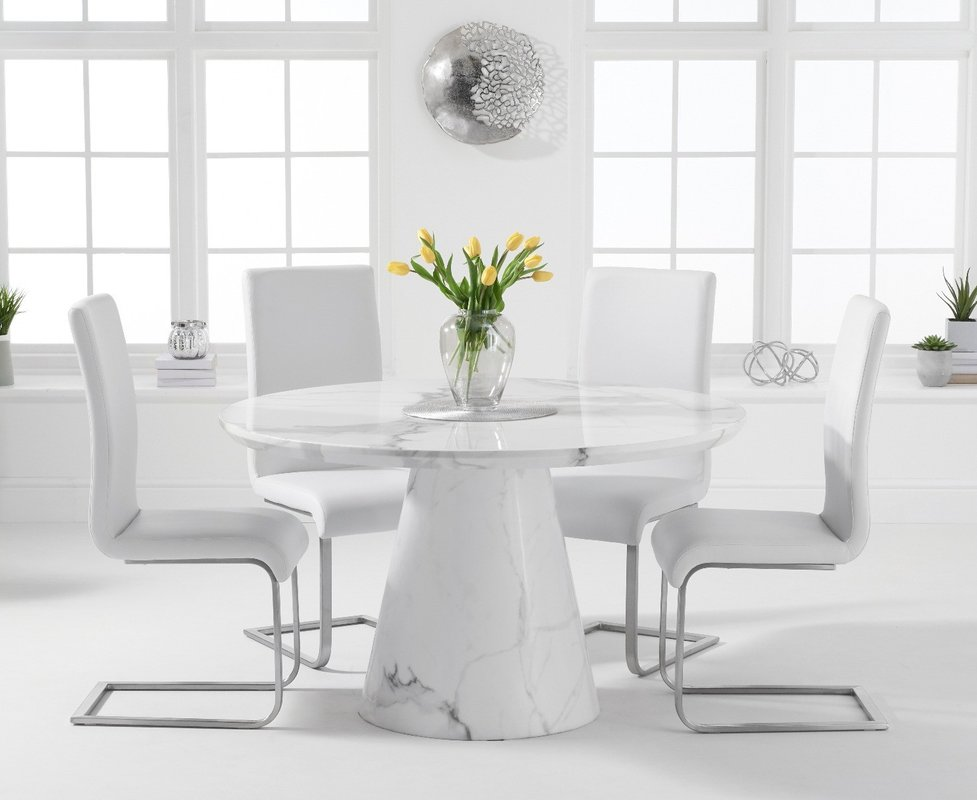 Ravello 130cm Round White Marble Dining Table With Malaga Chairs Grey 4 Chairs 1 109 00 Save Up To 36 Off