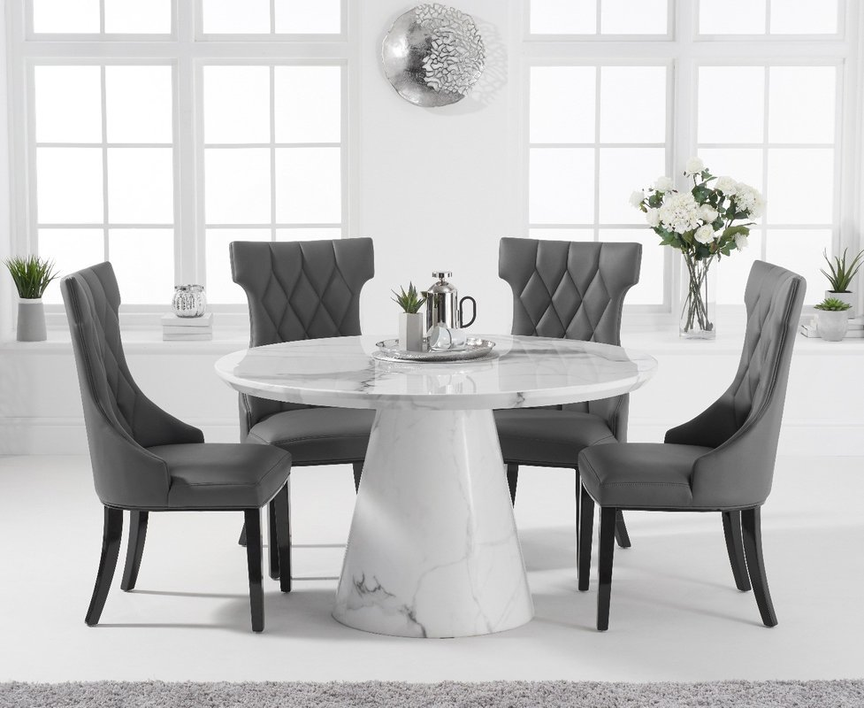 Ravello 130cm Round White Marble Dining Table With Freya Chairs Cream 4 Chairs 1 729 00 Save Up To 27 Off