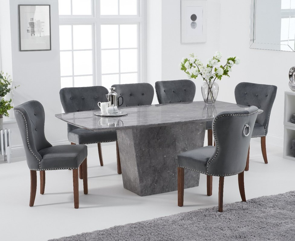Photo of Francesca 200cm Grey Marble Dining Table With Knightsbridge Grey Plush Chairs - Grey- 6 Chairs