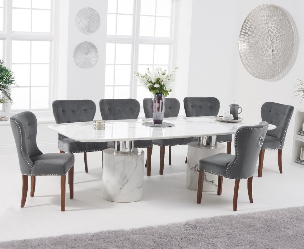 Photo of Antonio 260cm White Marble Dining Table With Knightsbridge Chairs - Grey- 6 Chairs