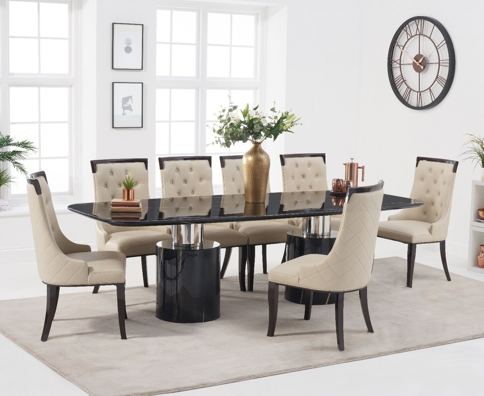 Antonio 260cm Black Marble Dining Table With Angelica Chairs Cream 6 Chairs 3 179 00 Save Up To 36 Off