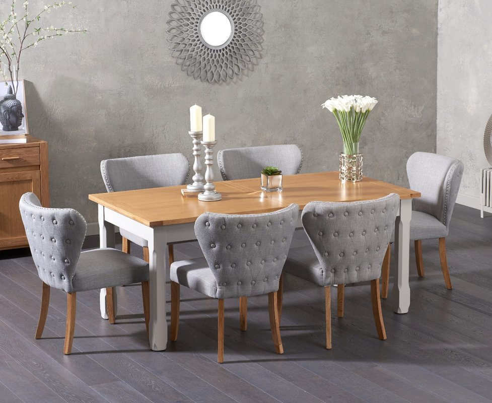 Photo of Somerset 180cm Oak And Grey Extending Dining Table With Isobel Fabric Chairs - Grey- 6 Chairs