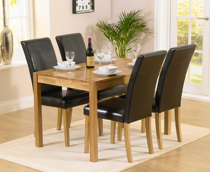 Photo of Oxford 120cm Solid Oak Dining Set With Albany Brown Chairs - Brown- 4 Chairs