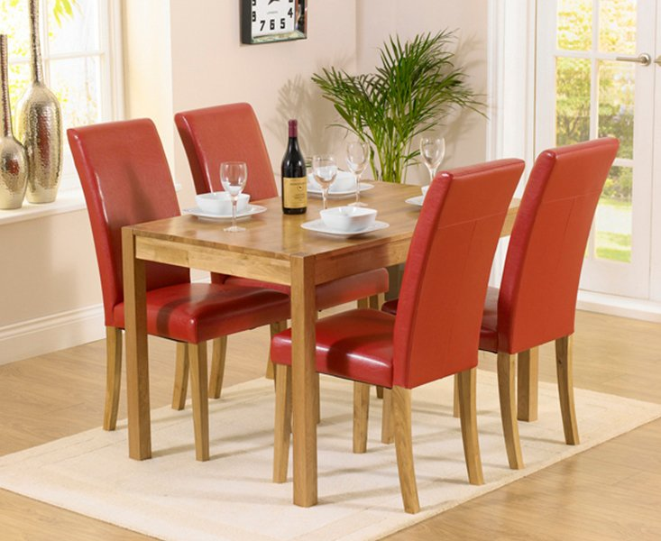 Photo of Oxford 120cm Solid Oak Dining Table With Albany Red Chairs - Red- 4 Chairs