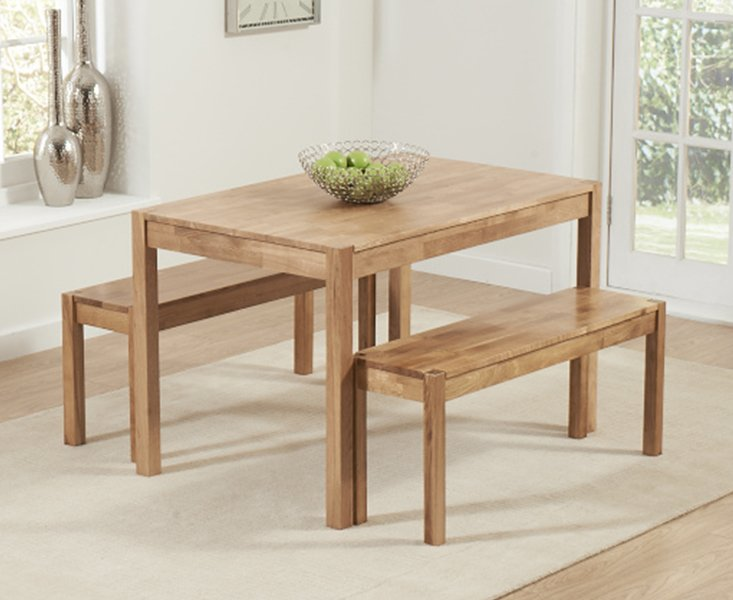 Photo of Oxford 120cm Solid Oak Dining Table With Benches