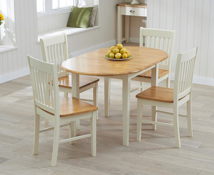 Photo of Amalfi Cream Extending Dining Table With Chairs - Oak And Cream- 4 Chairs