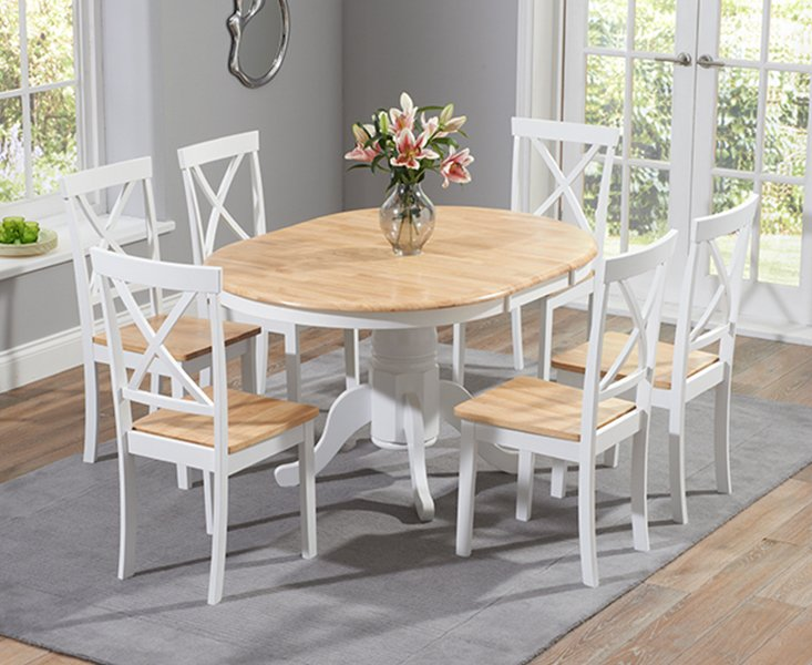 Photo of Epsom Oak And White Pedestal Extending Dining Table Set With Chairs - Oak And White- 4 Chairs