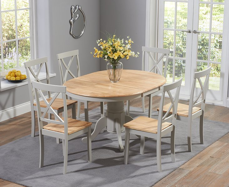 Photo of Epsom Oak And Grey Pedestal Extending Dining Set With Chairs - Oak And Grey- 4 Chairs