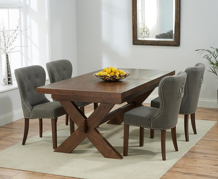 Bordeaux 200cm Dark Solid Oak Extending Dining Table With Knightsbridge Chairs Grey 6 Chairs 1 959 00 Save Up To 18 Off