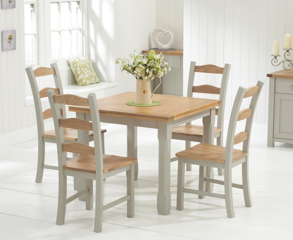 Photo of Somerset 90cm Oak And Grey Flip Top Extending Dining Table With Somerset Chairs - Oak And Grey- 4 Chairs
