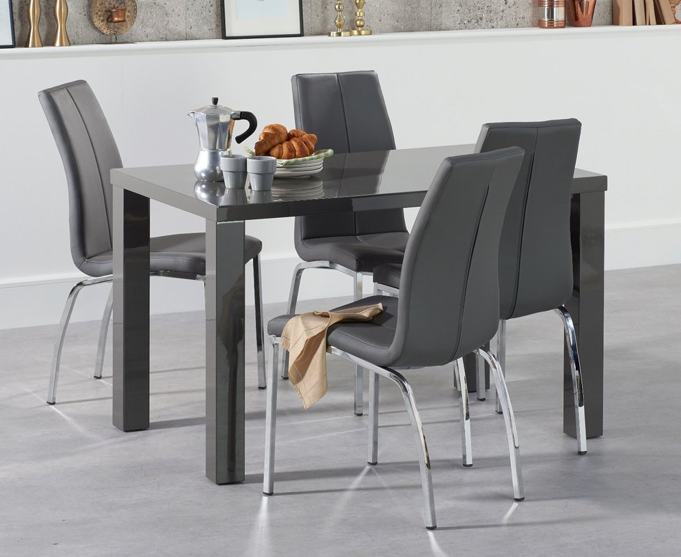 Atlanta 120cm Dark Grey High Gloss Dining Table With Cavello Chairs 429 00 Save Up To 44 Off