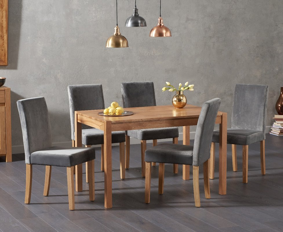 Photo of Oxford 120cm Solid Oak Dining Table With Mia Grey Plush Chairs - Grey- 4 Chairs