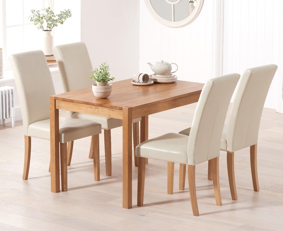 Photo of Oxford 120cm Solid Oak Dining Table With Albany Cream Chairs - Cream- 4 Chairs
