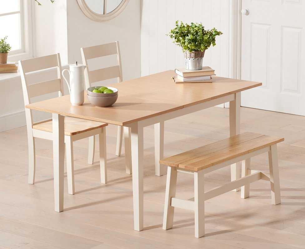 Photo of Chiltern 120cm Extending Cream And Oak Table With Chiltern Chairs And Bench - Cream- 2 Chairs