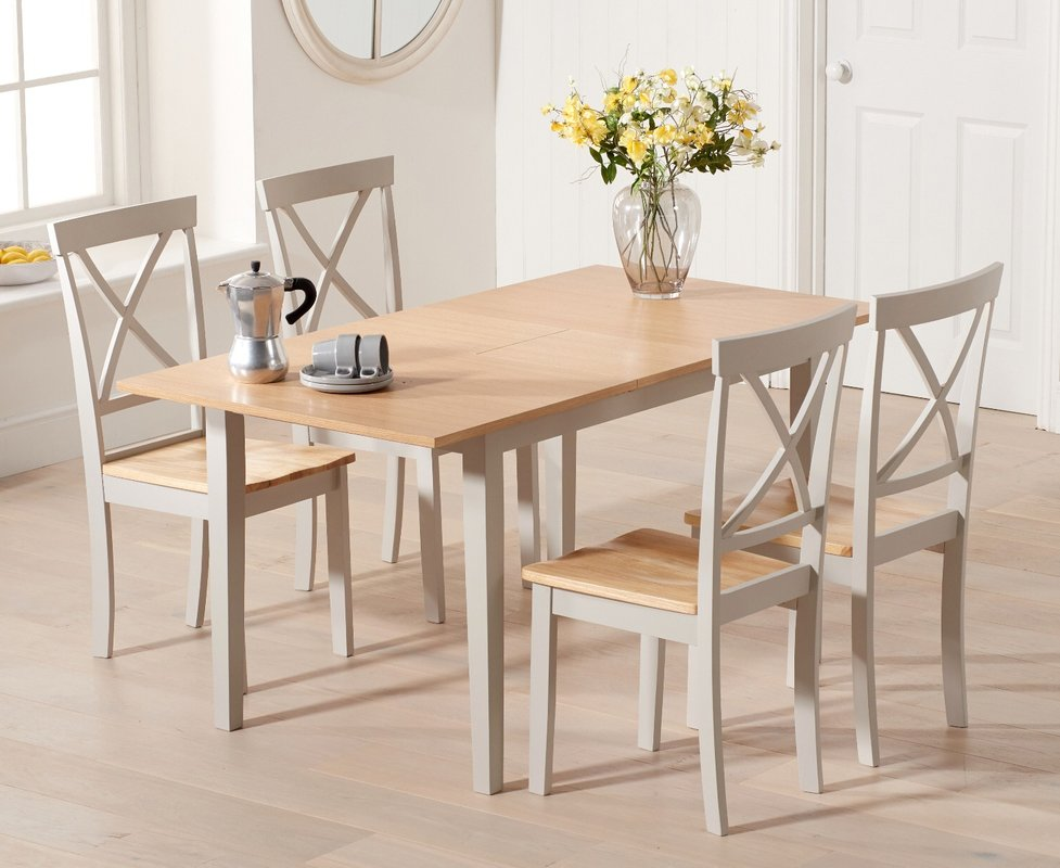 Photo of Chiltern 120cm Extending Grey And Oak Table With Epsom Chairs - Oak And Grey- 4 Chairs