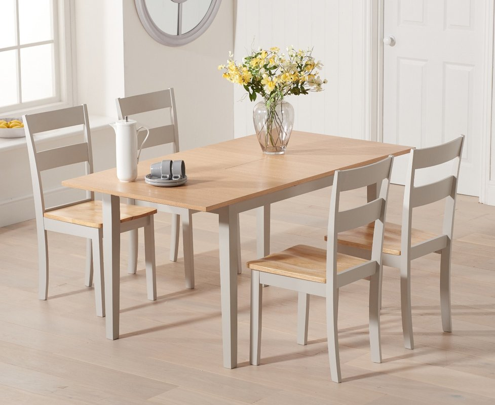 Photo of Chiltern 120cm Extending Grey And Oak Table With Chiltern Chairs - Oak And Grey- 4 Chairs