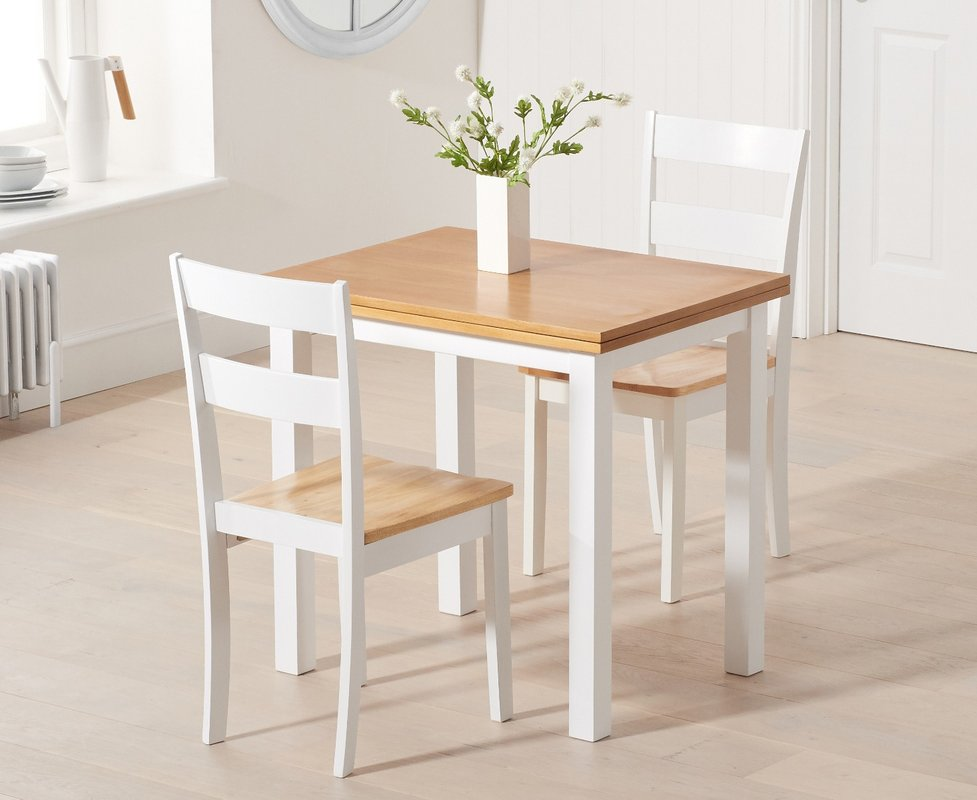 Photo of Hastings Extending White And Oak Table With Chiltern Chairs - Oak And White- 2 Chairs