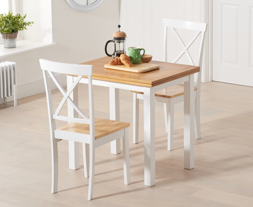 Photo of Hastings Extending White And Oak Table With Epsom Chairs - Oak And White- 2 Chairs