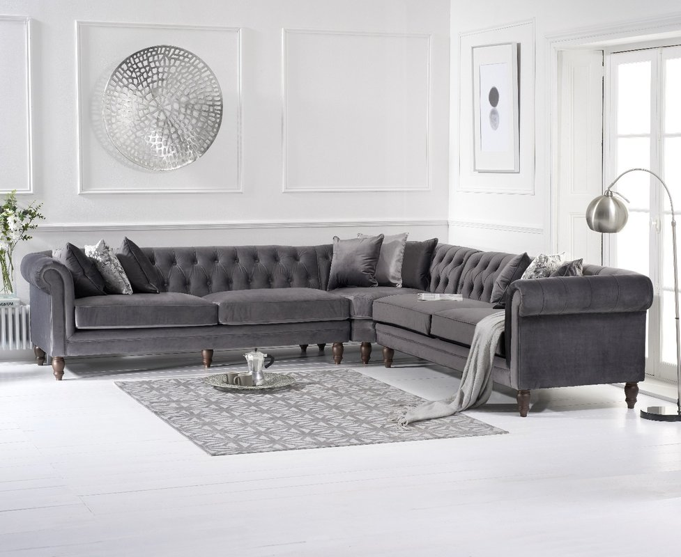 Photo of Limoges Grey Velvet Corner Sofa