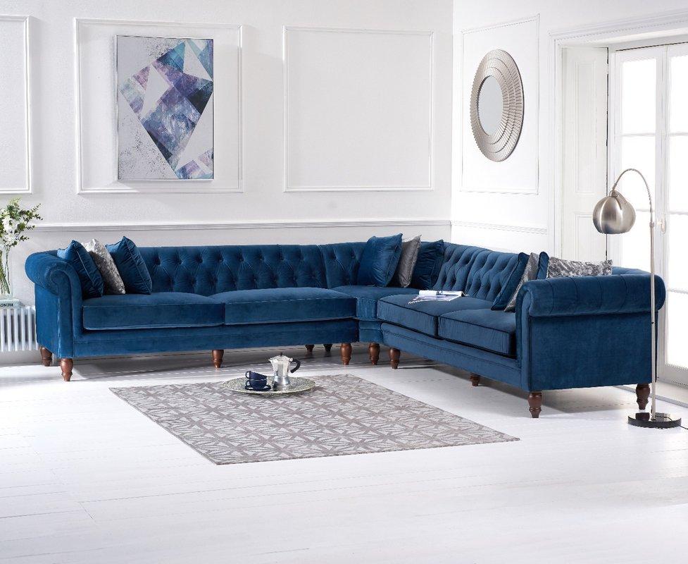 Photo of Limoges Blue Velvet Corner Sofa