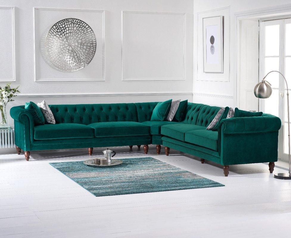 Photo of Limoges Green Velvet Corner Sofa
