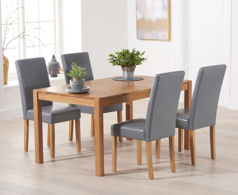 Photo of Oxford 120cm Solid Oak Dining Set With 4 Albany Chairs