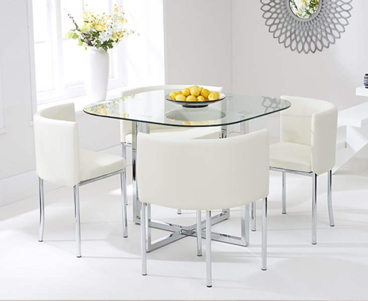 Algarve Glass Stowaway Dining Table With Cream High Back Stools Cream 4 Chairs 499 00 Save Up To 43 Off