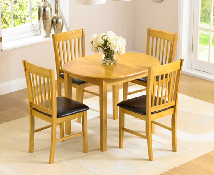 Photo of Amalfi Oak 107cm Extending Dining Table And Chairs - Brown- 4 Chairs