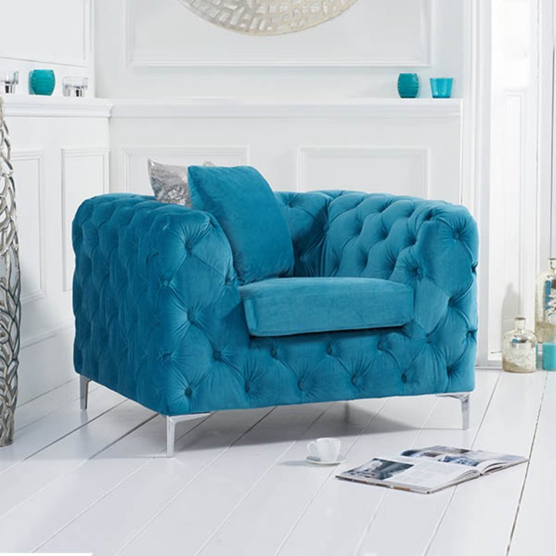 Photo of Amara Teal Plush Velvet Armchair