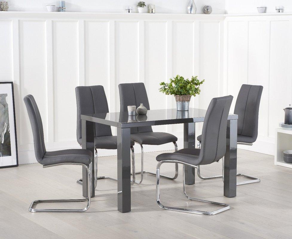 Photo of Atlanta 120cm Dark Grey High Gloss Dining Table With Tarin Chairs