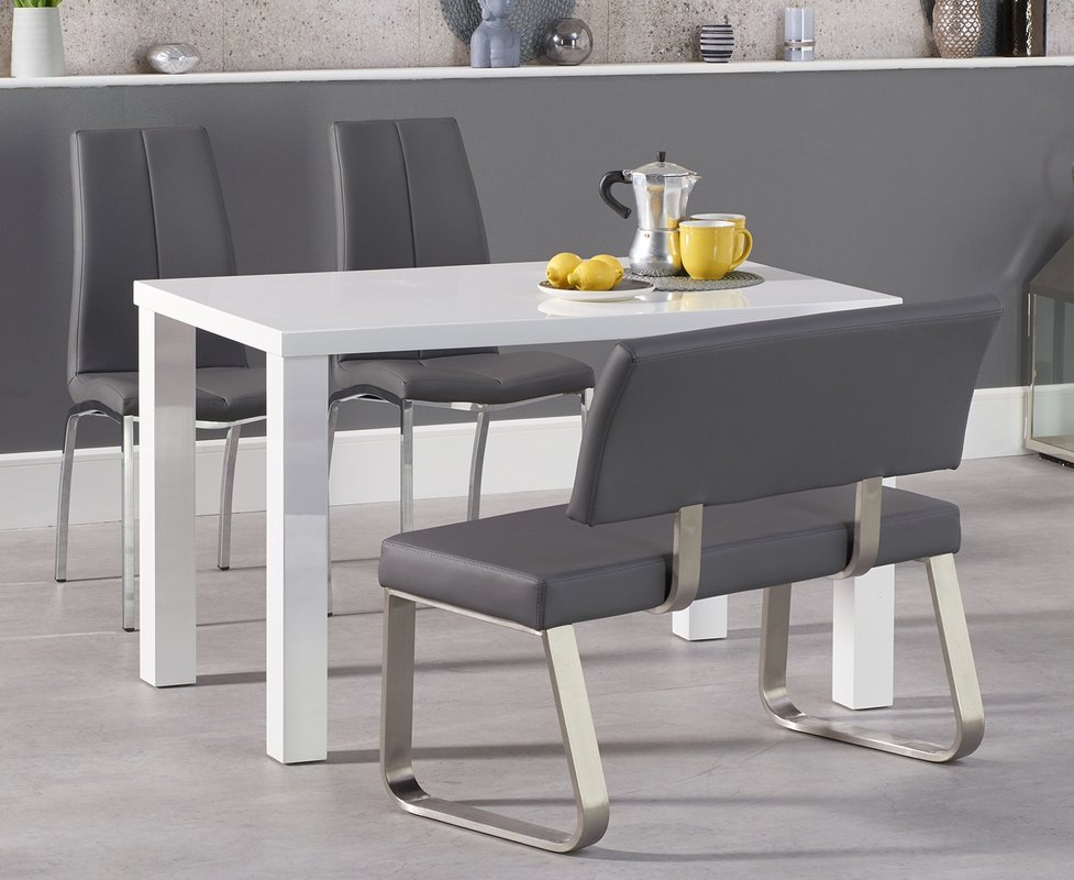 Atlanta 120cm White High Gloss Dining Table With Cavello Chairs And Malaga Grey Bench 629 00 Save Up To 40 Off